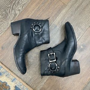FRYE // bootie with buckle/harness detail